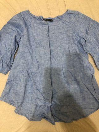 Zara水藍泡泡袖棉麻七分袖上衣