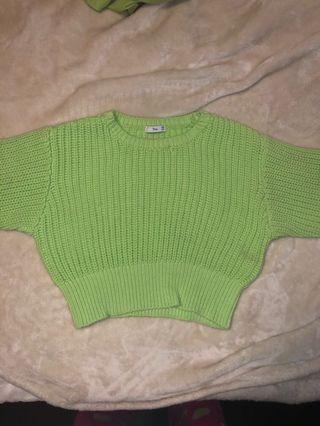 TNA neon green sweater