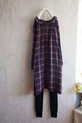 轉售 hime*日系格紋洋裝 紫F