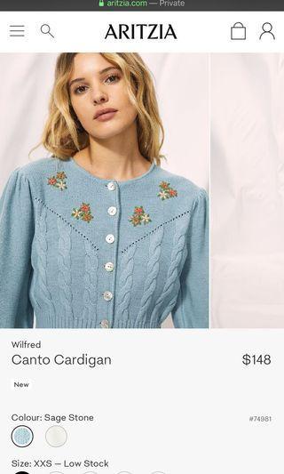 Aritzia Canto sweater xxs sage stone