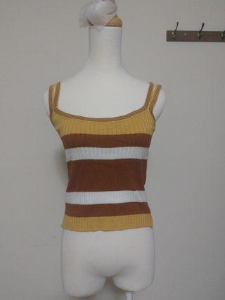 無袖 細肩帶 黃色 咖啡色 條紋 顯瘦 緊身 上衣 衣服