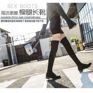 大尺碼 過膝靴 膝上靴 顯瘦過膝靴 女平底長靴 綁帶過膝靴
