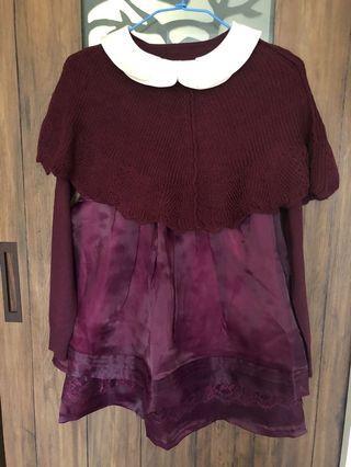 韓版公主風歐根紗毛衣兩件套洋裝