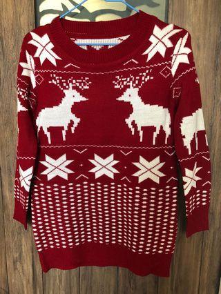 麋鹿雪花紋針織毛衣