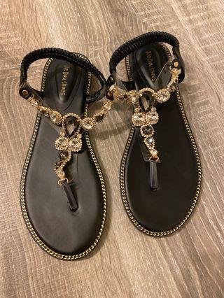 真皮寶石涼鞋