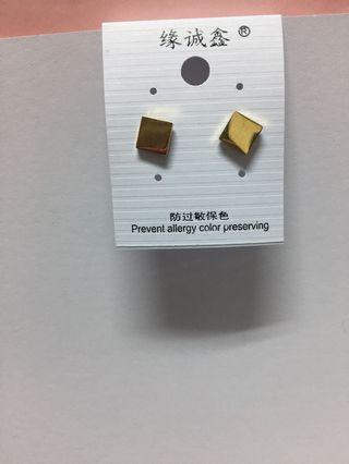 通體鈦鋼簡約方形貼耳耳環
