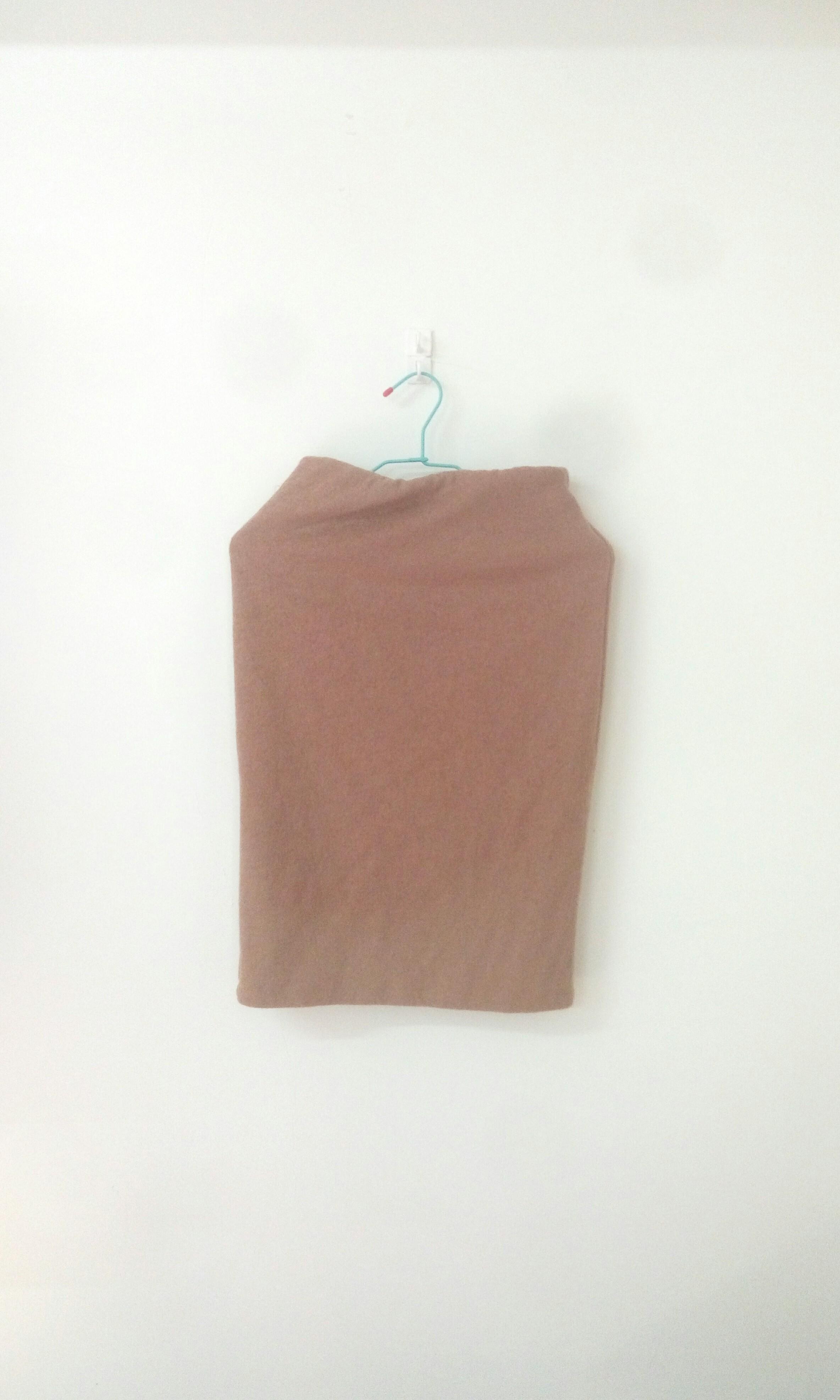 韓風毛料棕色窄長裙