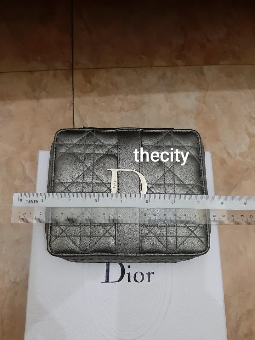 AUTHENTIC DIOR COSMETICS VANITY BAG/ POUCH CLUTCH - LADY DIOR QUILTED DESIGN , MIRROR INSIDE - GOOD CONDITION,  CLEAN INTERIOR-