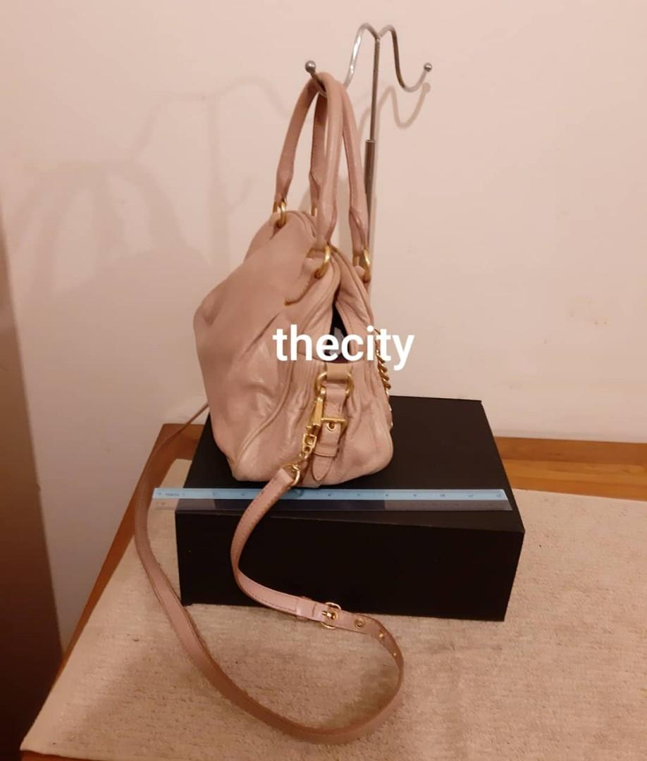 AUTHENTIC MIU MIU LEATHER TOTE WITH LONG STRAP FOR CROSSBODY SLING - CLEAN INTERIOR,  OVERALL GOOD - (BOUGHT AROUND RM 6000+)