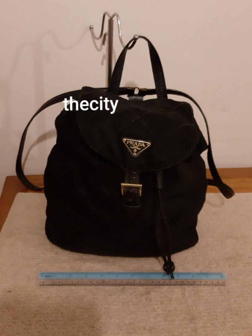 AUTHENTIC PRADA BLACK NYLON CANVAS QUILTED BACKPACK - CLEAN INTERIOR,  RARE QUILTED DESIGN , HARD TO SOURCE IN RESALE MARKET- CLASSIC TIMELESS VINTAGE, SO NOT FOR FUSSY BUYERS- (PRADA BACKPACKS NOW RETAIL AROUND RM 6000+)
