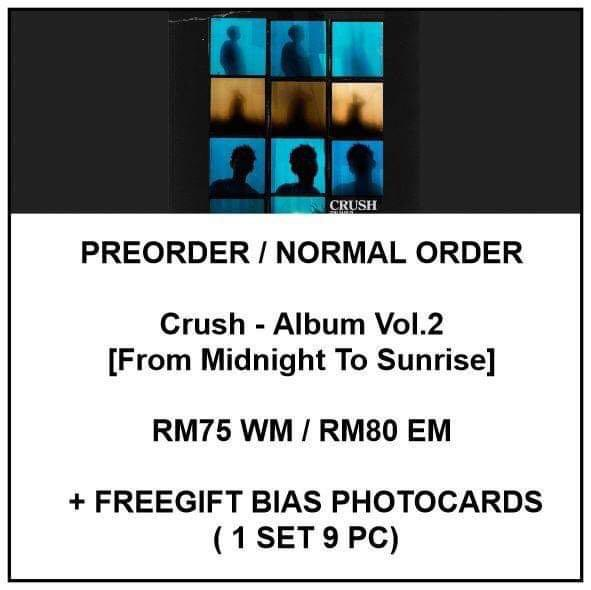 Crush -  From Midnight To Sunrise  - PREORDER/NORMAL ORDER/GROUP ORDER/ALBUM GO + FREE GIFT BIAS PHOTOCARDS (1 ALBUM GET 1 SET PC, 1 SET GET 9 PC)