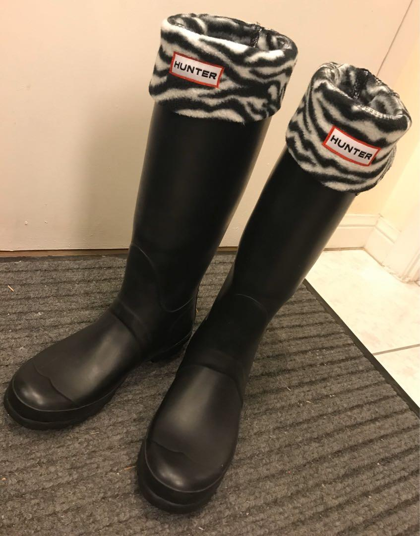 EUC Hunter women original tall boots with fleece boots socks (US 7 / EU 38)