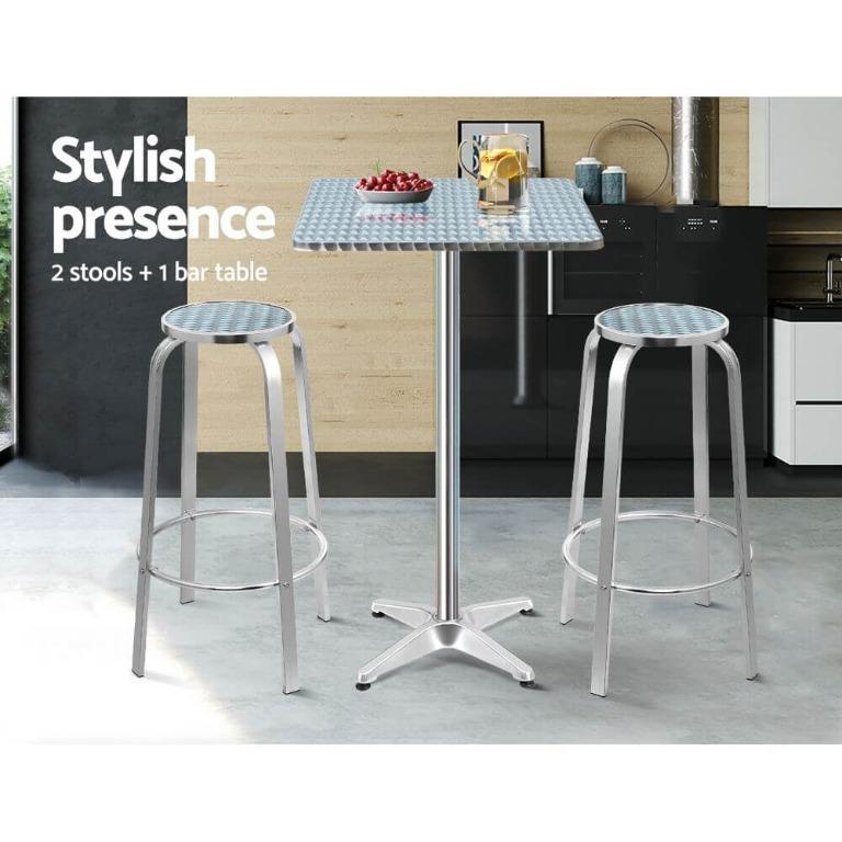 Gardeon Outdoor Bistro Set Bar Table Stools Adjustable Aluminium Cafe 3PC Square