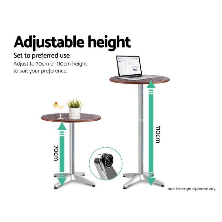 Gardeon Outdoor Bistro Set Bar Table Stools Adjustable Aluminium Cafe 3PC Wood