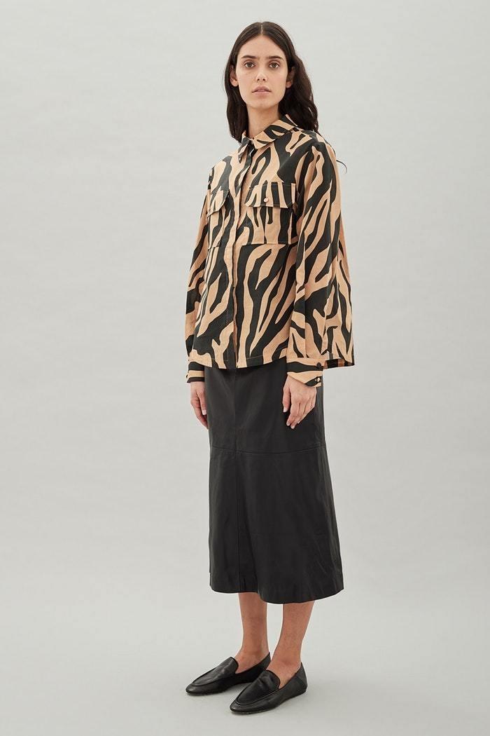 Hansen & Gretel Dempsey Shirt in Zebra - Size XS RRP $229
