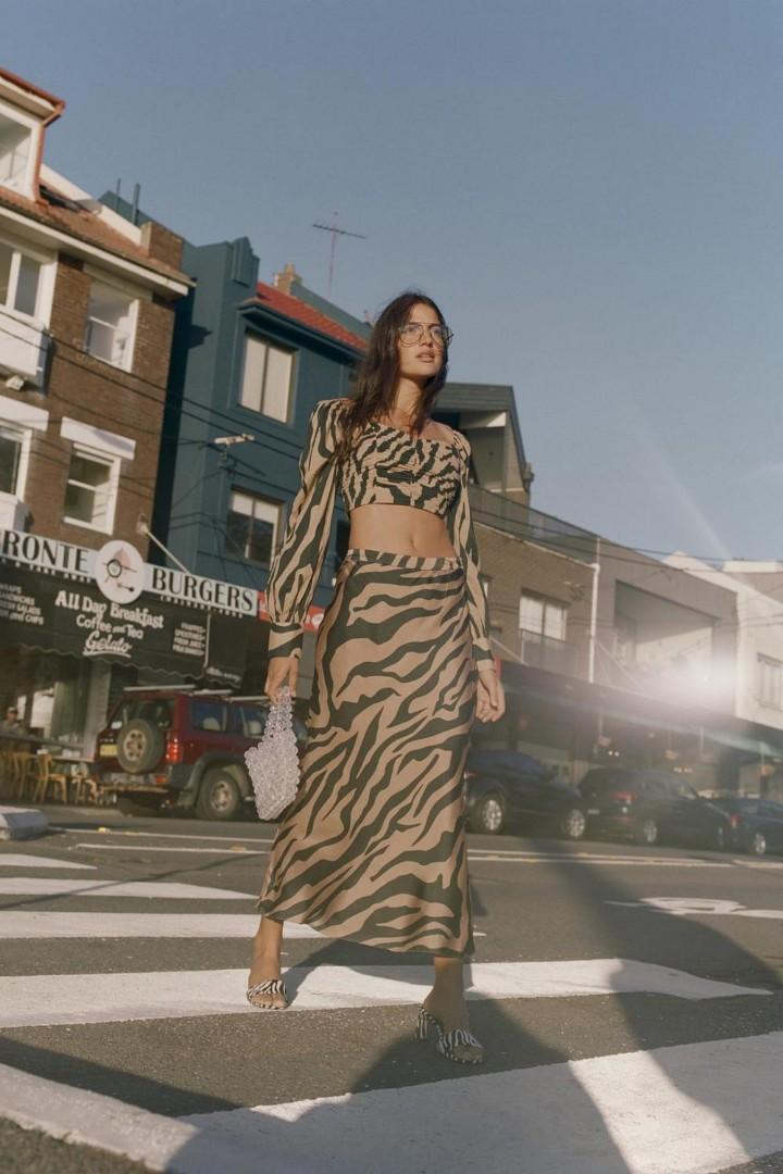 Hansen & Gretel Elsom Silk Skirt in Zebra - Size XS RRP $269