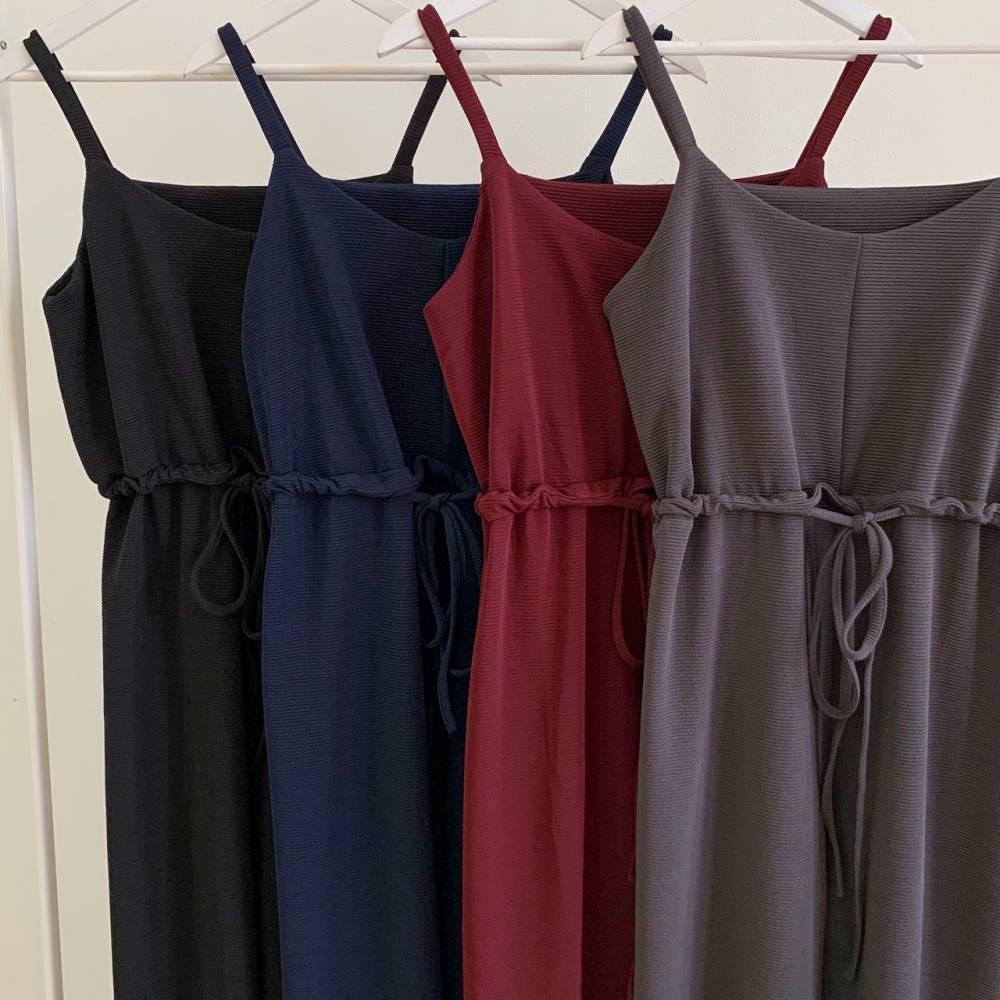 JS4720 Knitted Long Jumpsuit Premium jumpsuit korea jumpsuit panjang polos jumpsuit tali serut jumpsuit kulot jumpsuit overall jumpsuit polos