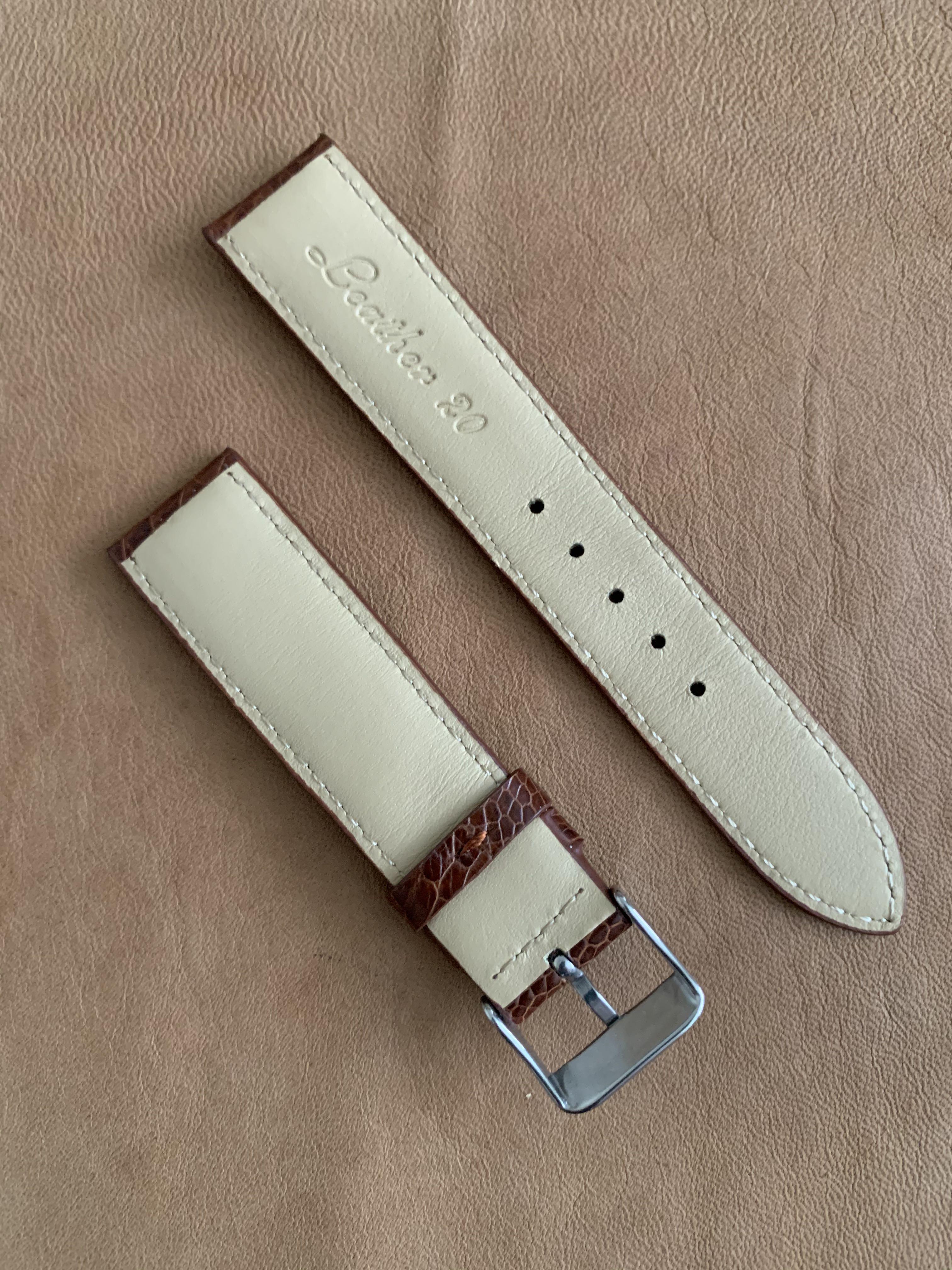 20mm/18mm Dark Whiskey Brown Ostrich Leg Watch Strap (with stitching) - 20mm@lug/18mm@buckle  20mm/18mm     Standard length: L-120mm,S-75mm