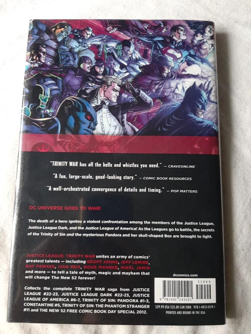 Justice League The New 52: The Trinity War by Geoff Johns, Jeff Lemire, Ray Fawkes, DC COMICS hardbound