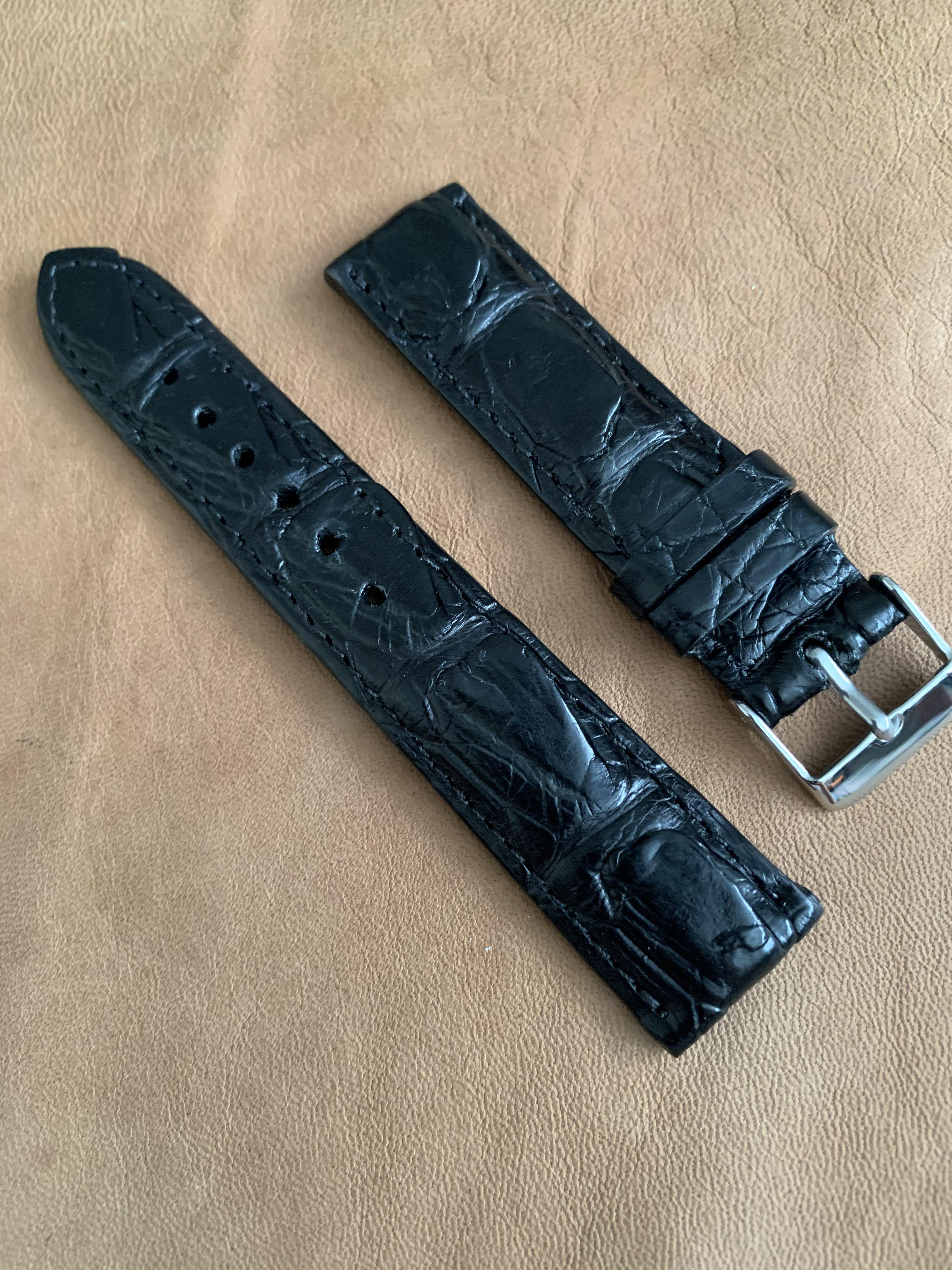 20mm/18mm Black Alligator Crocodile Watch Strap (rugged angled flaps and thick grains) (thick strap) 20mm@lug/18mm@buckle 20mm/18mm      Standard length: L-120mm,S-75mm