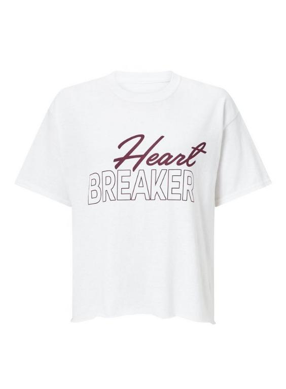 Miss Selfridge White 'Heartbreaker' Slogan T-Shirt