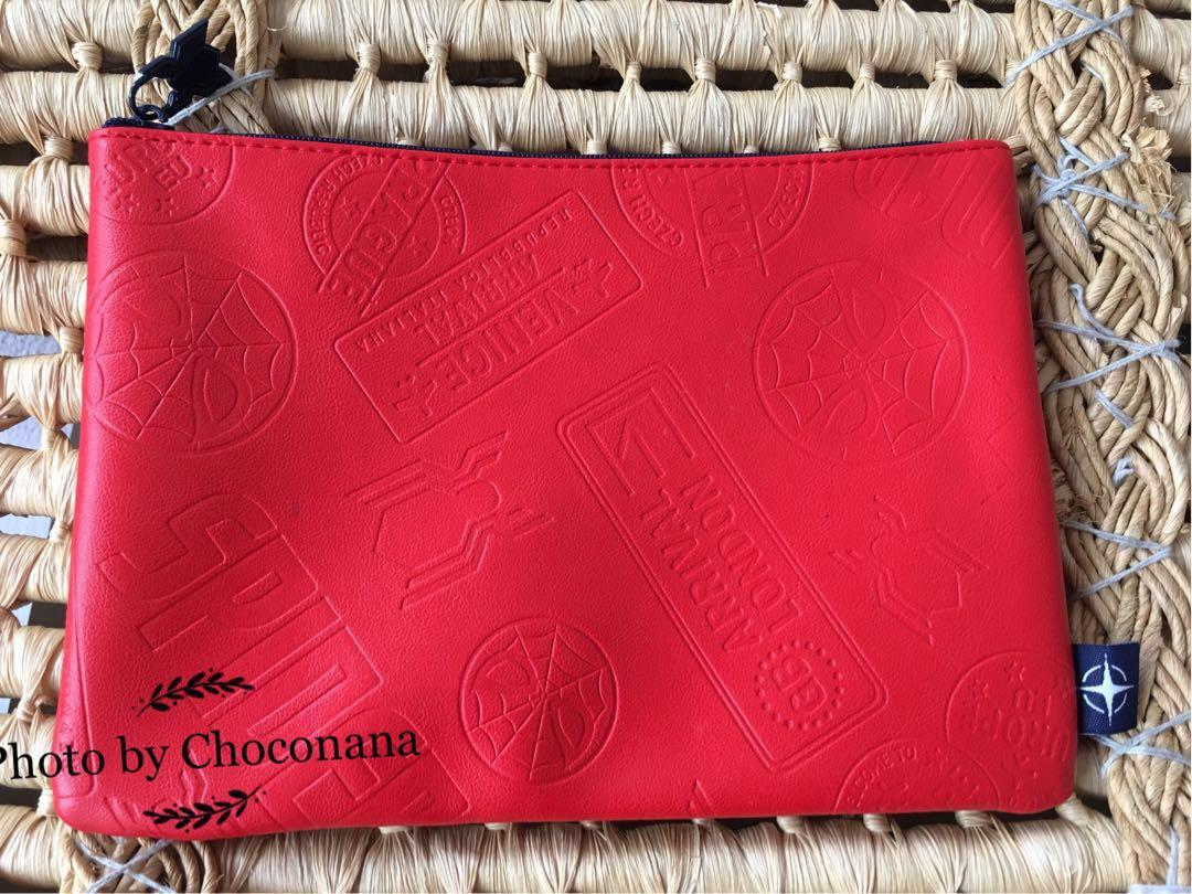 Ready stock: Spider man United Airlines first class amenities pvc leather clutch