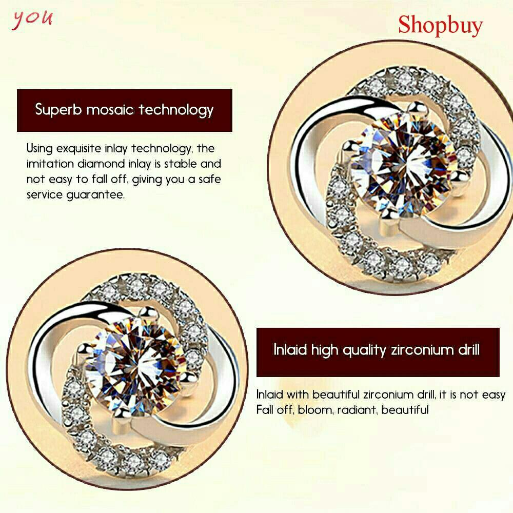 Sparkling 925 Sterling Silver Elegant Crystal Earrings ⛤039