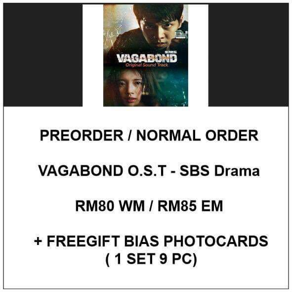 VAGABOND O.S.T - SBS Drama OST Album  - PREORDER/NORMAL ORDER/GROUP ORDER/ALBUM GO + FREE GIFT BIAS PHOTOCARDS (1 ALBUM GET 1 SET PC, 1 SET GET 9 PC)