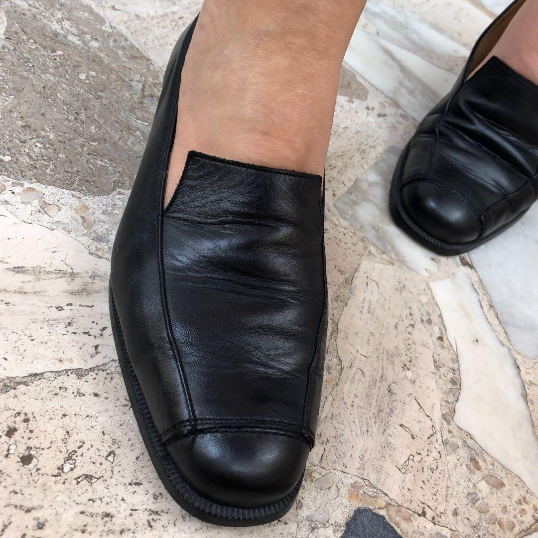 #vintage #French black leather #moccasins from the early 1990s (brand: Rafaël) French size 38.5