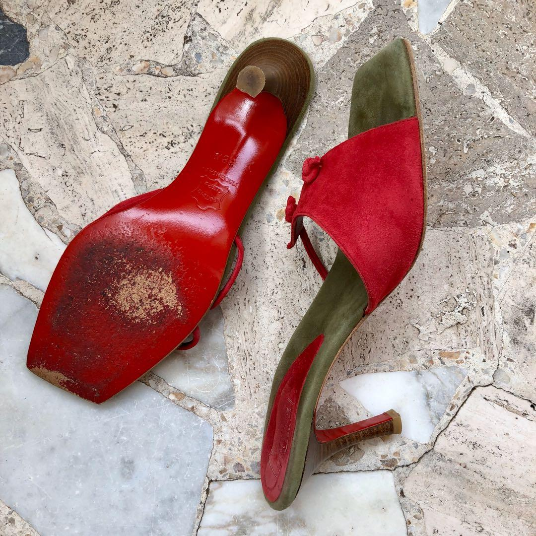 Vintage French suede leather red sandals with wooden heel 1990s made in Spain