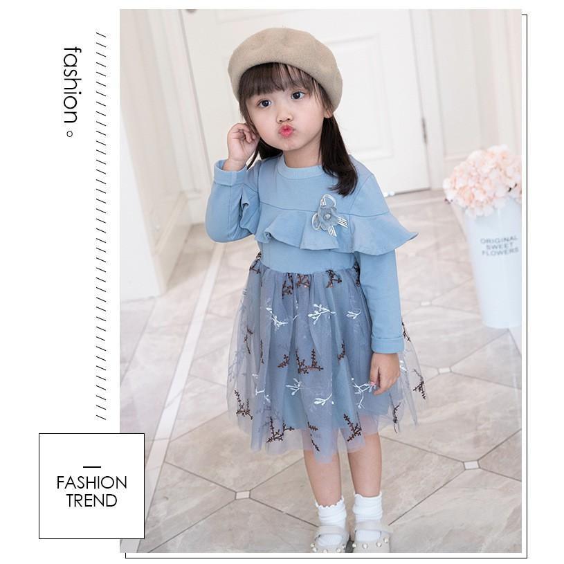 WEYWAI baju dress anak perempuan lengan panjang import dress pesta anak dress anak import dress tile anak