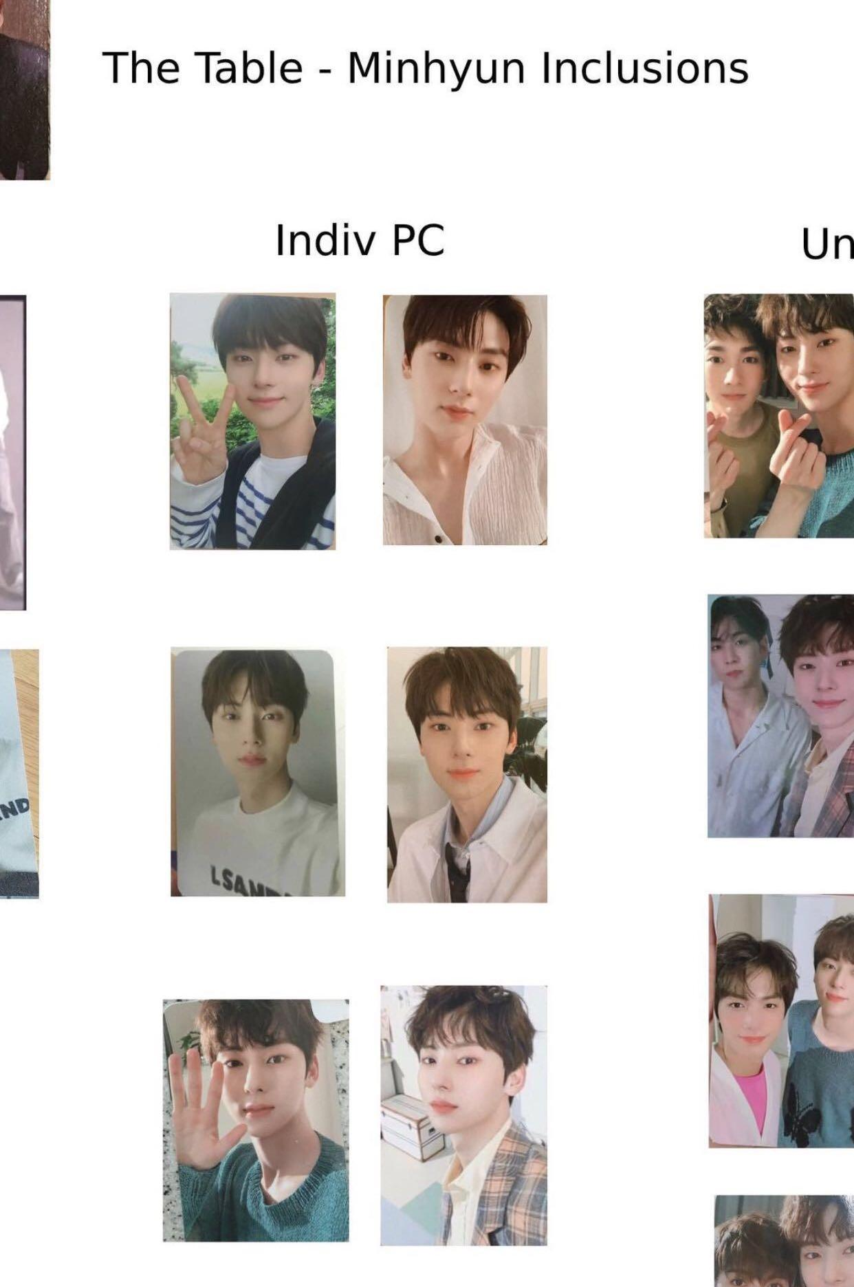 WTB/WANT TO BUY MINHYUN's THE TABLE INDIVIDUAL PCS