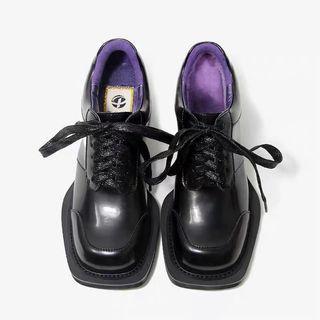 pinjiahui秋季新品復古獨特方頭設計小皮鞋女英倫中跟小單鞋舒適
