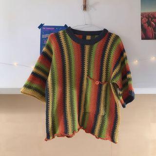 彩色粗針織🌈五分袖上衣
