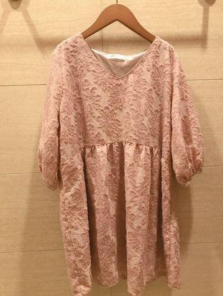 韓標浪漫立體繡花雪紡洋裝