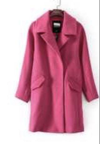 氣質款羊棉毛桃粉色大衣全新品