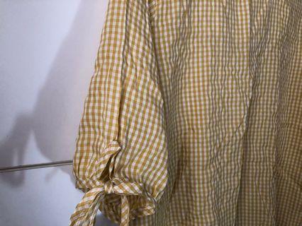 黃色格紋方領襯衫