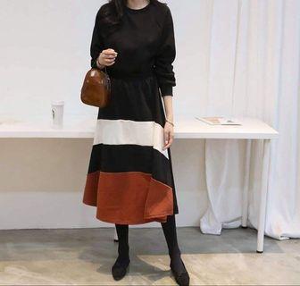 韓國下橫條拼色鬆緊腰內刷薄毛連身洋裝