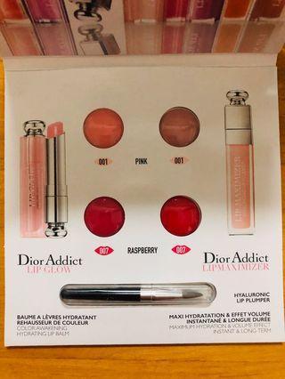 專櫃正品 Dior迪奧 護唇雙天后 四色試用卡 迪奧癮誘粉漾潤唇膏 #001 #007 迪奧豐漾俏唇蜜 #001