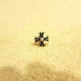 全新 925純銀十字花作舊耳釘