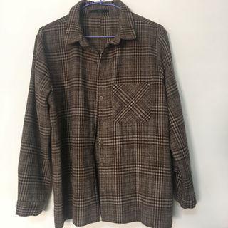 Queen Shop毛呢格紋長袖襯衫上衣 大地色復古格子外套 古著