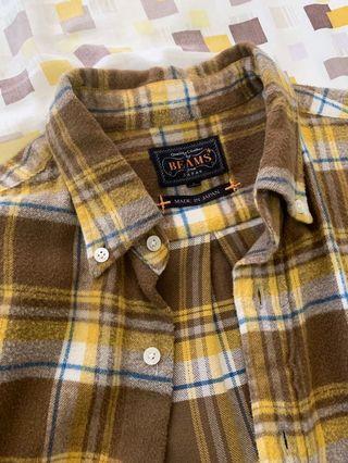 Beams plus 黃色格紋 法蘭絨襯衫 日本製🇯🇵 戶外 狩獵 美式 可參考 filson L.L.Bean