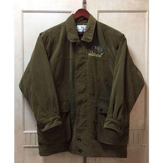 Vintage古著內裏超帥美版刺繡軍綠鋪面隱藏式抽繩飛行外套