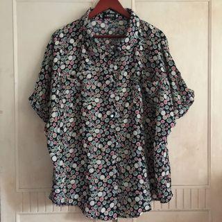日系寬鬆草間彌生風格藍底彩色點點襯衫