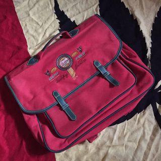 Vintage古著刺繡紅色手提公事包後背包