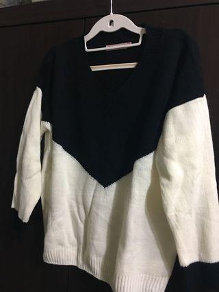 Lace 黑色v 造型毛衣