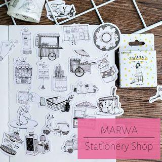 45pcs Sketch Illustration Drawing Journal Bujo Diary Sticker Pack (MC084)