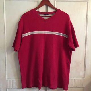 bossini撞色棉質暗紅針織T shirt
