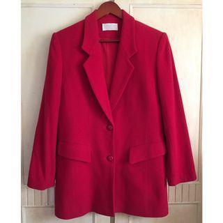 Vintage古著姨媽紅霸氣毛呢毛料西裝大衣外套