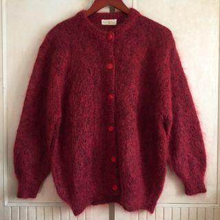 小紅帽fu超可愛暗紅色針織毛茸茸外套